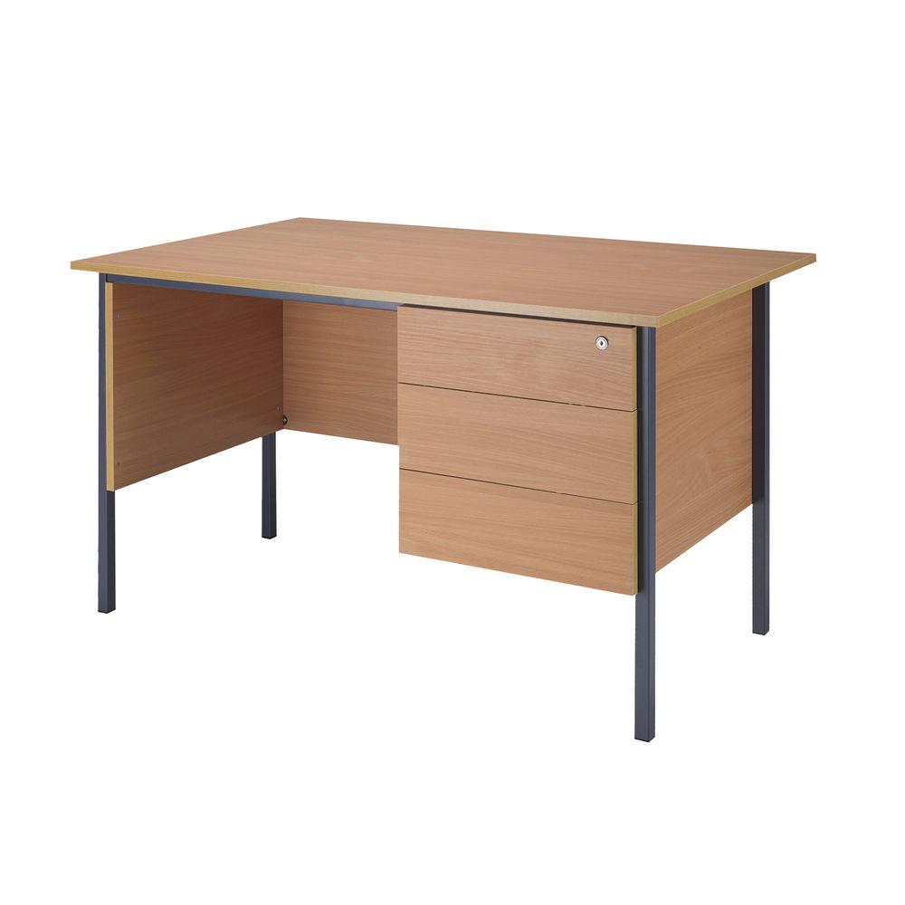 Serrion 1200mm Beech 3 Drawer Pedestal 4 Leg Desk
