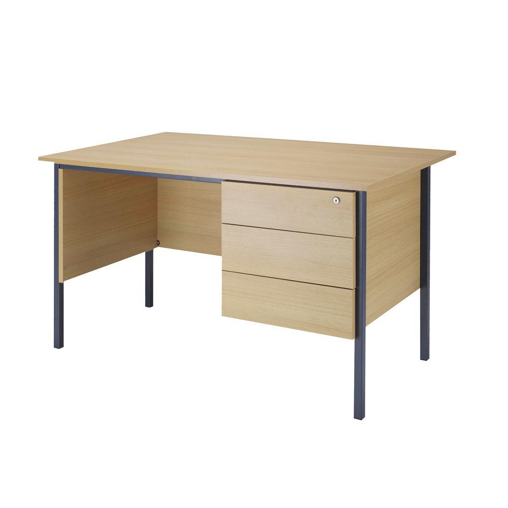 Serrion 1200mm Ferrera Oak 3 Drawer Pedestal 4 Leg Desk
