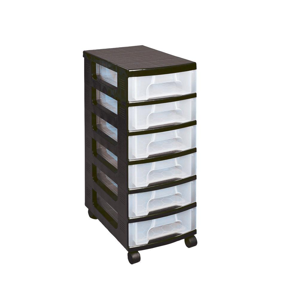 Really Useful Black Plastic 6 Drawer Storage Tower St6x7c