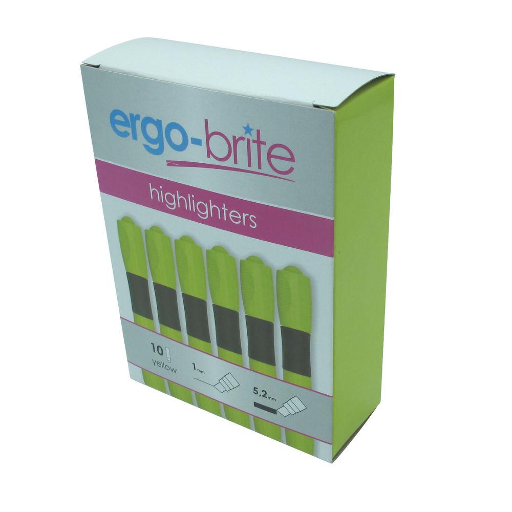 Ergo-Brite Ergonomic Highlighter Pen Yellow (Pack of 10) JN69979