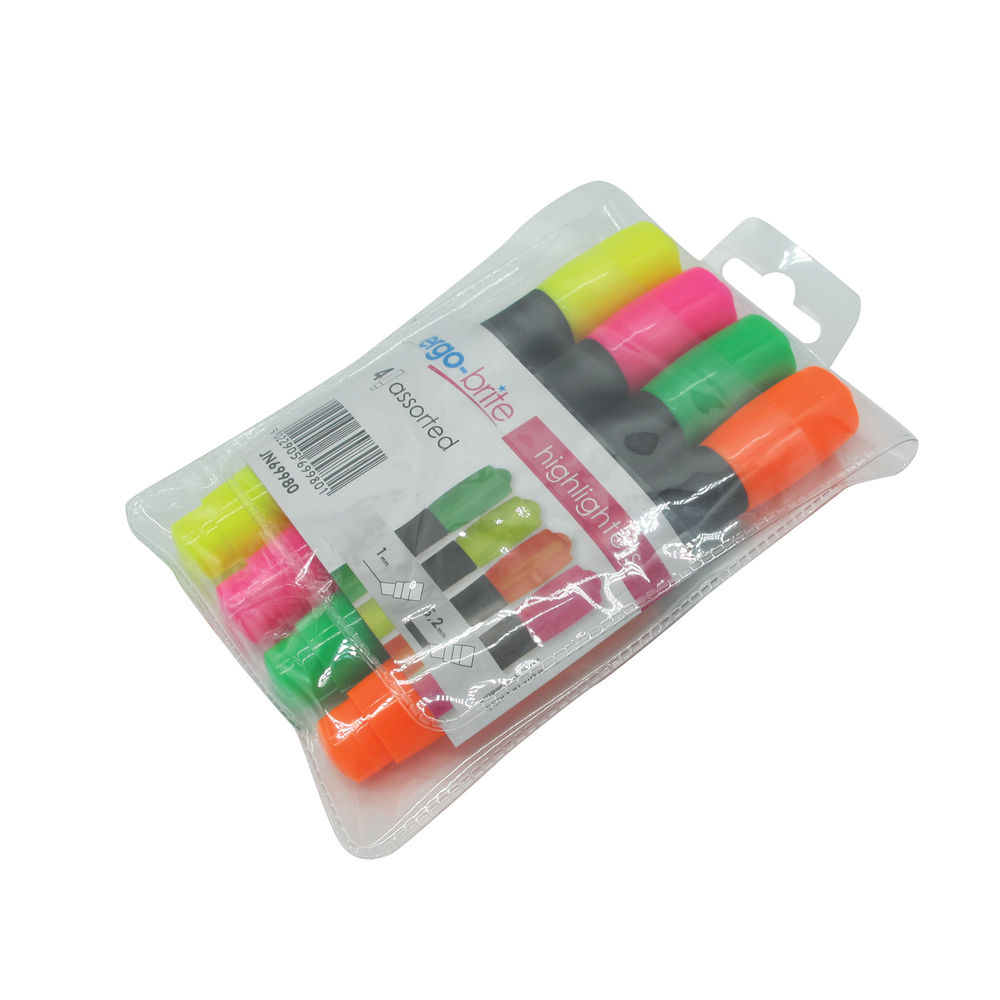 Ergo-Brite Ergonomic Assorted Highlighters, Pack of 4 - JN69980