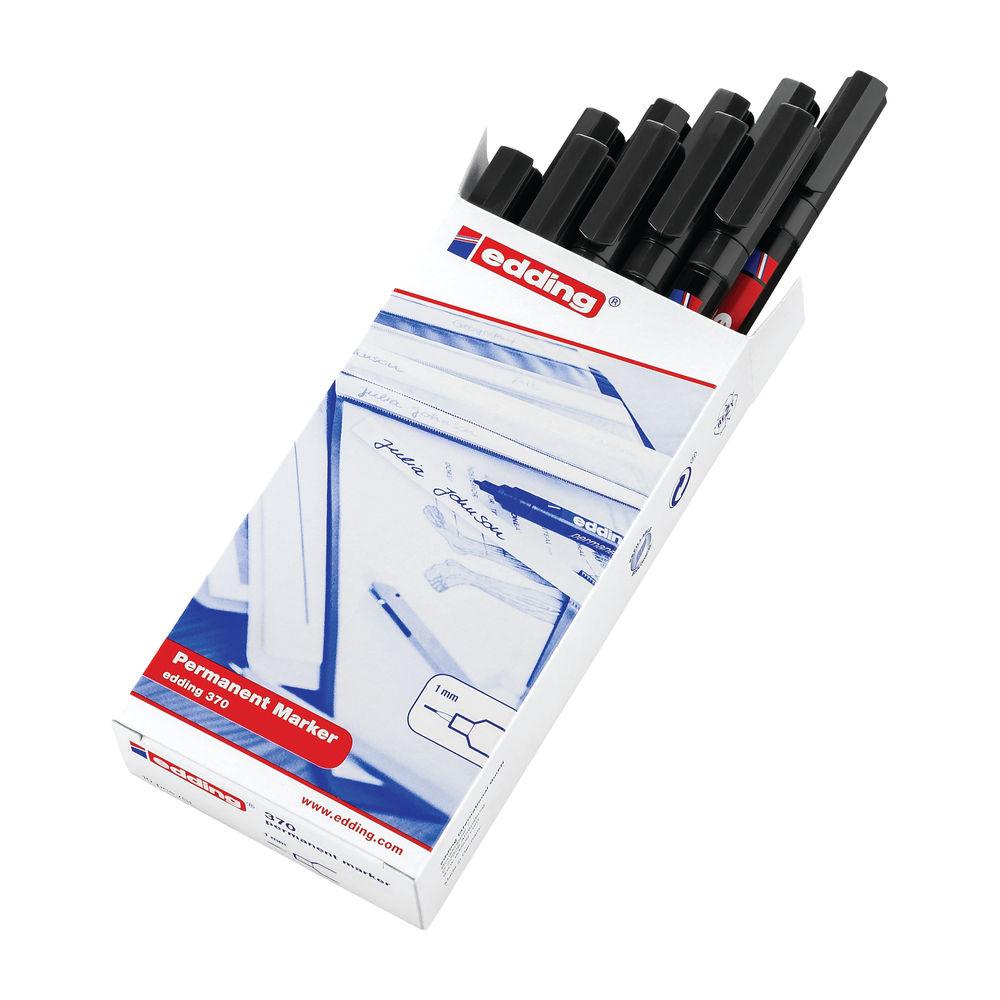 Edding 370 Permanent Marker Fine Black (Pack of 10) 370-001