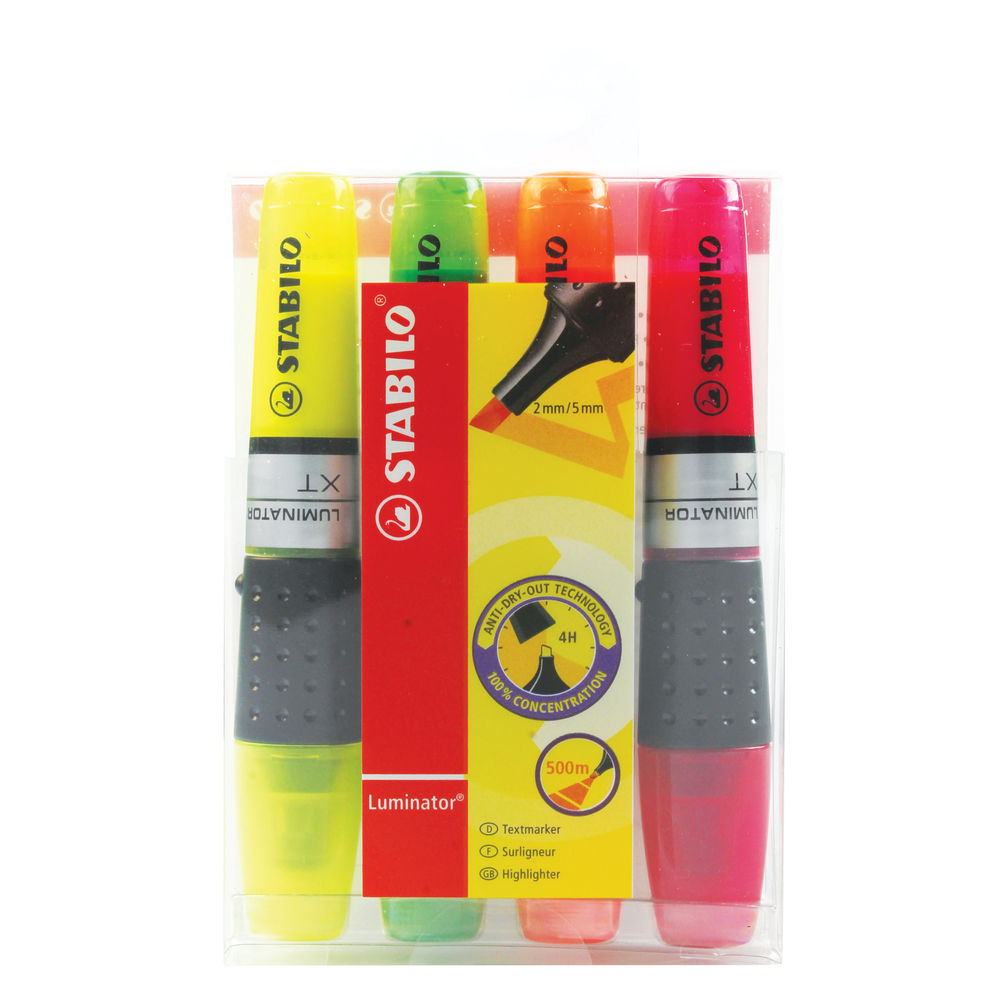 STABILO Luminator Assorted Highlighter Pens, Pack of 4 - 71/4