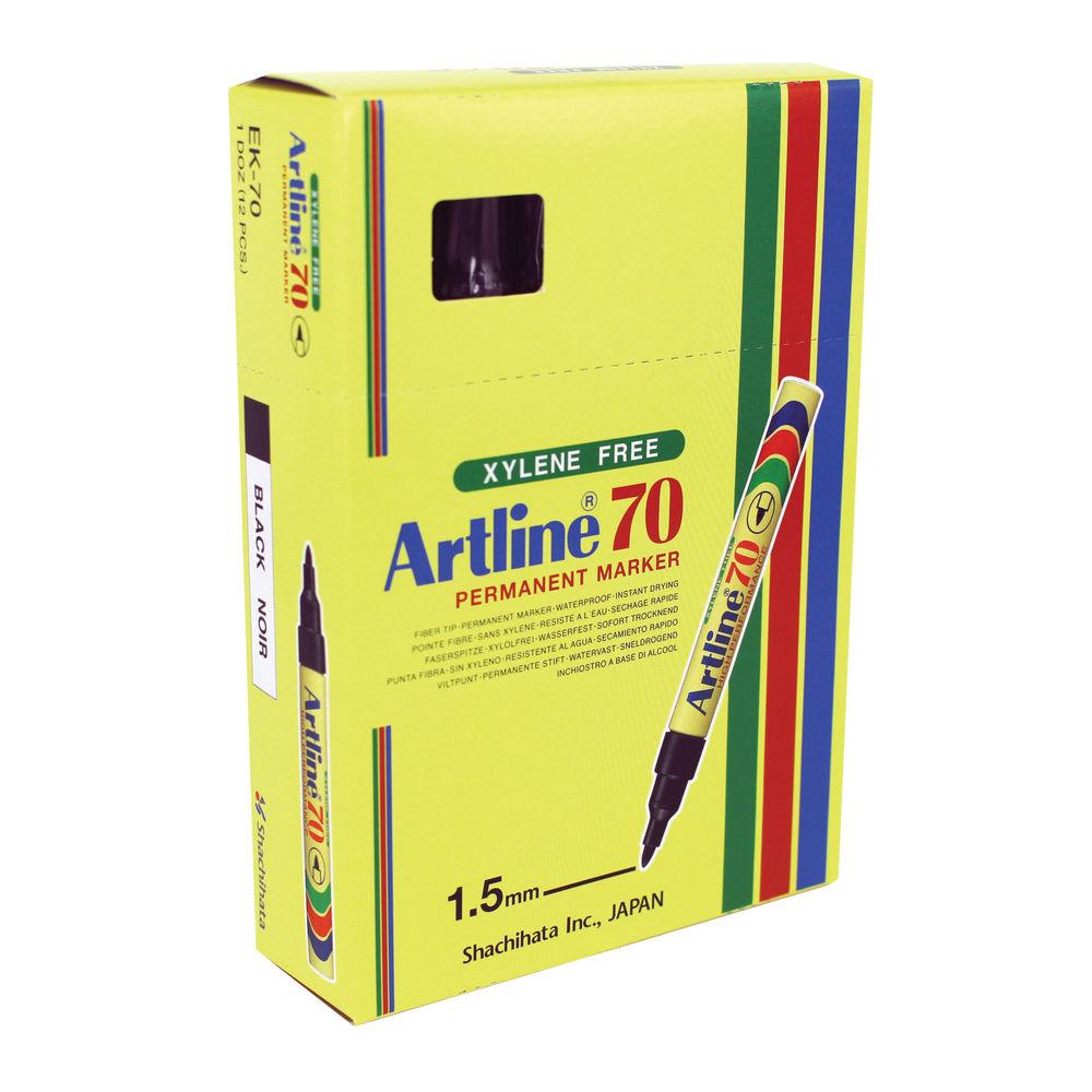 Artline 70 Bullet Tip Black Permanent Marker Pens, Pack of 12 - A701