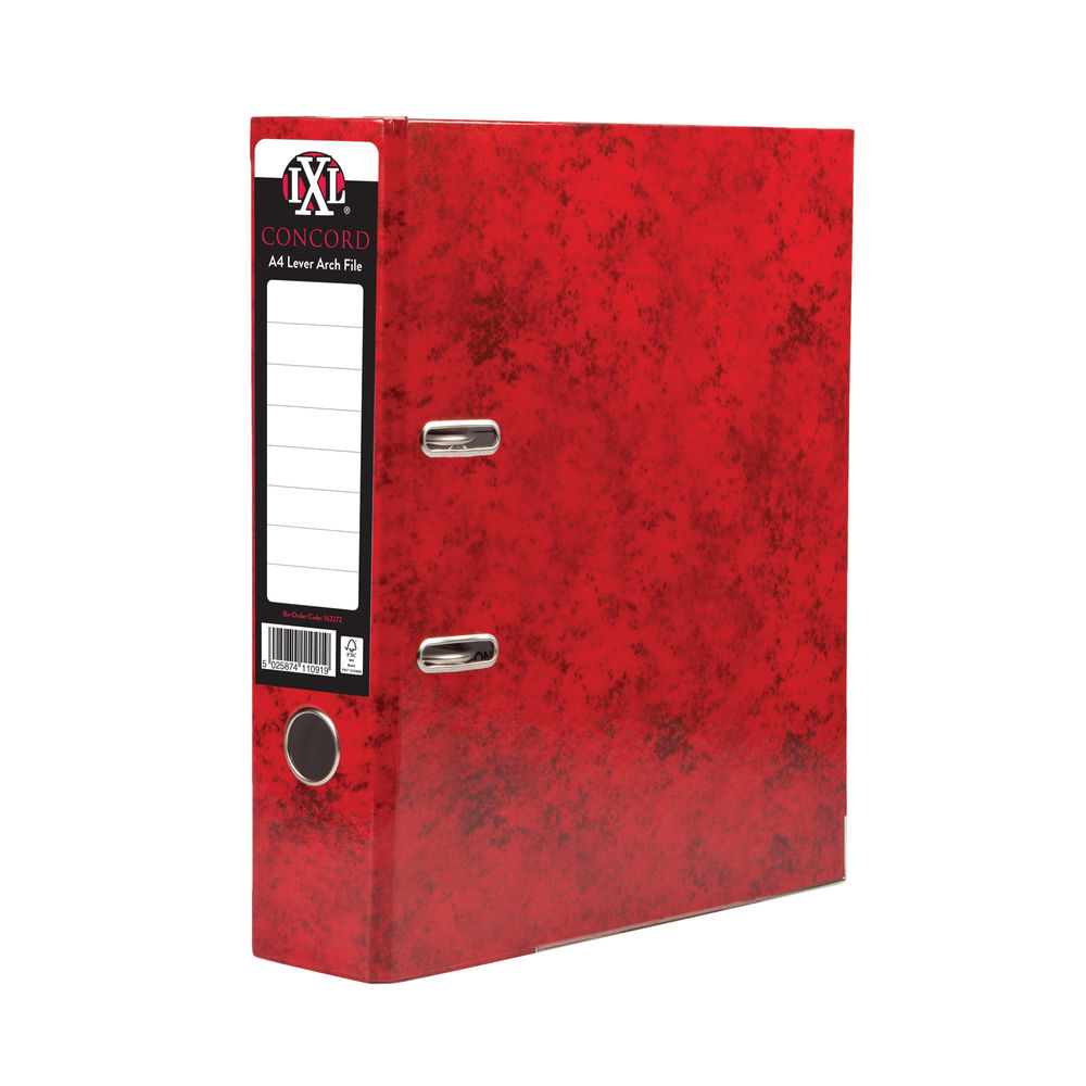 Concord IXL Selecta Red A4 Lever Arch Files 70mm - Pack of 10 - 162272