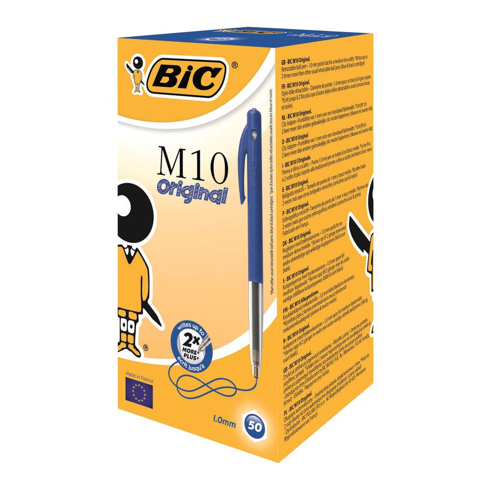 Bic M10 Clic Retractable Ballpoint Pen Medium Blue (50