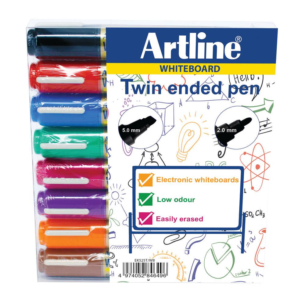 Artline Assorted 2-in-1 Whiteboard Markers, Pack of 8 - EK525TA
