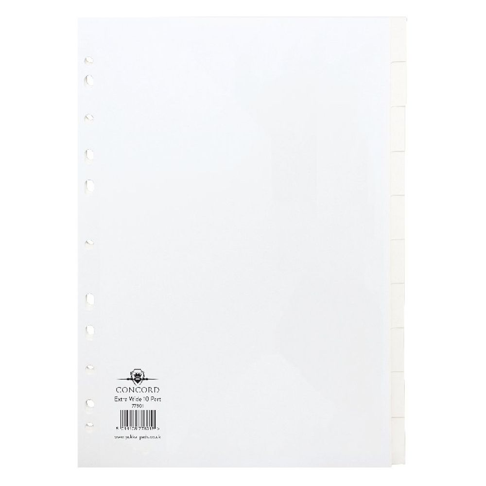 Concord A4+ Plain Tabs, White Extra Wide 10 Part Index Dividers - 77801