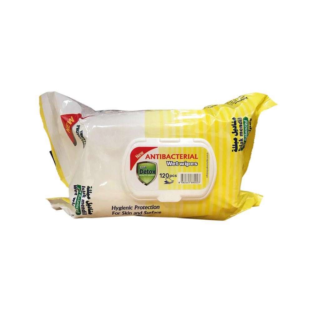Detox Lemon Antibacterial Wipes, Pack of 120 - Detox 120 Lem