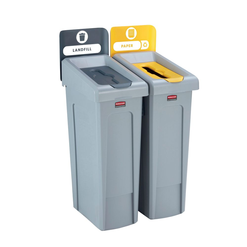 Rubbermaid Grey-Yellow Slim Jim 2 Stream Recycling Station - 2057733