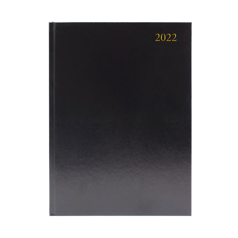 Black A4 2 Pages Per Day 2022 Desk Diary