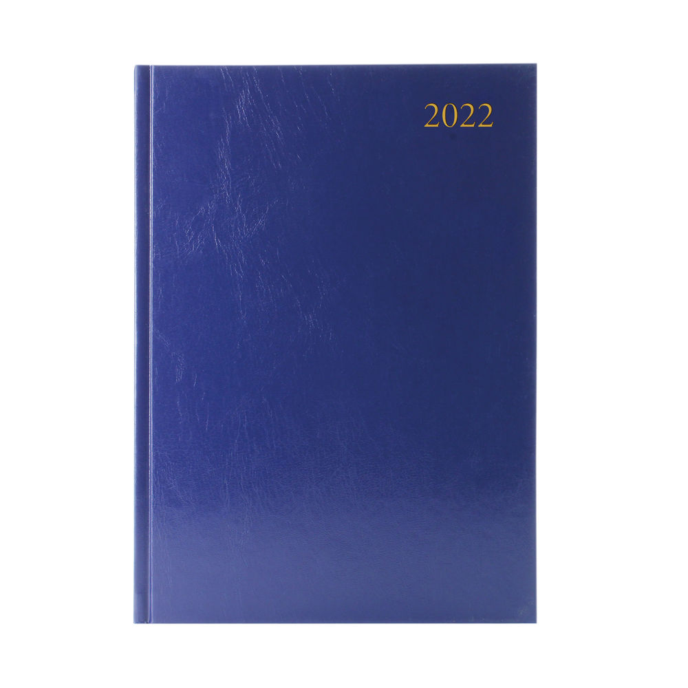 Blue A4 2 Pages Per Day 2022 Desk Diary