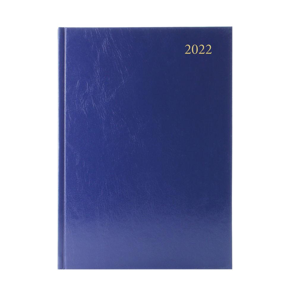 Blue A4 Day Per Page 2022 Desk Diary
