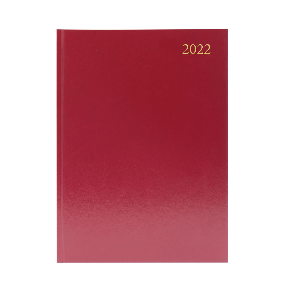 Burgundy A4 2 Days Per Page 2022 Desk Diary