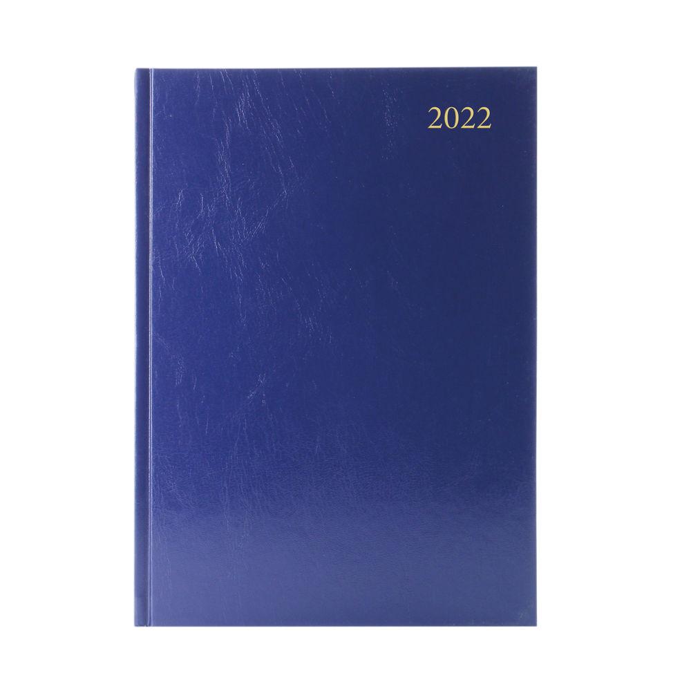 Blue A5 Day Per Page 2022 Desk Diary