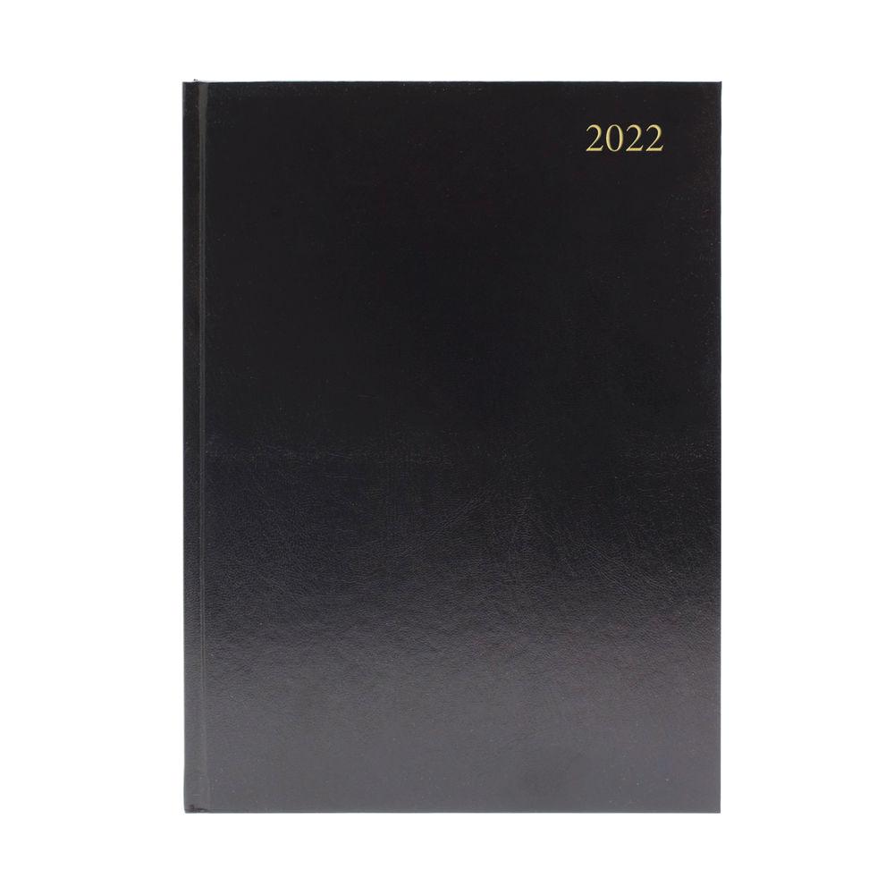 Black A4 2 Days Per Page 2022 Desk Diary