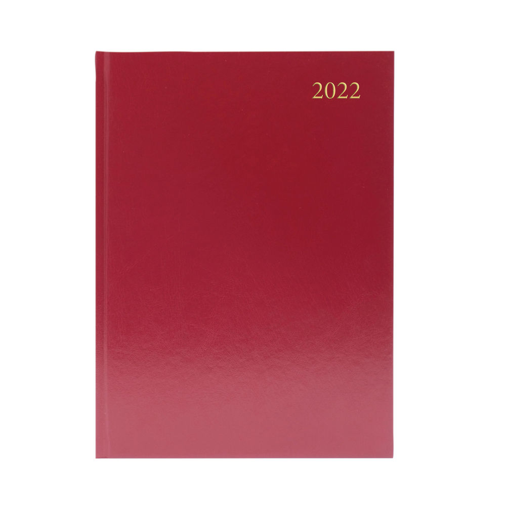 Burgundy A5 2 Days Per Page 2022 Desk Diary