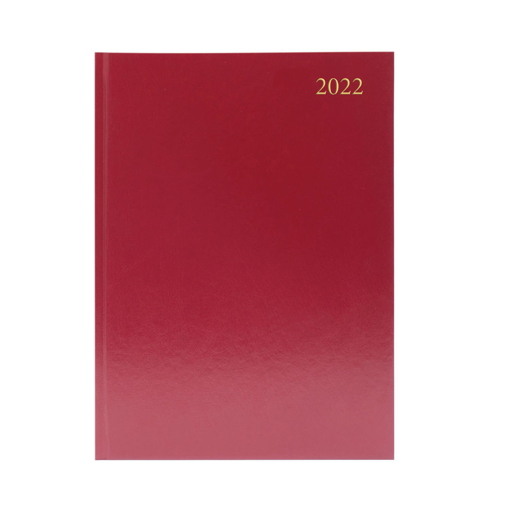 Burgundy A4 Week To View 2022 Desk Diary