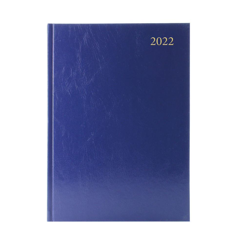 Blue A5 2 Days Per Page 2022 Desk Diary