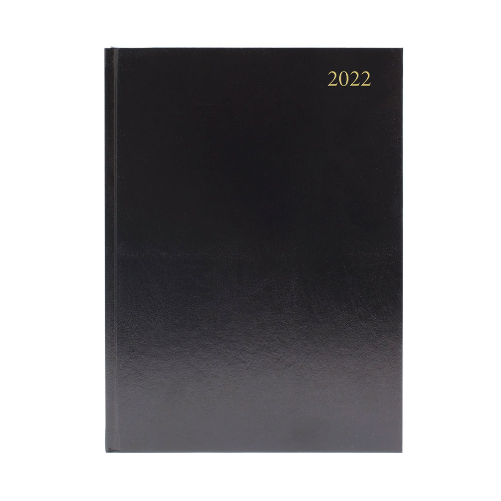 Black A4 Week To View 2022 Desk Diary