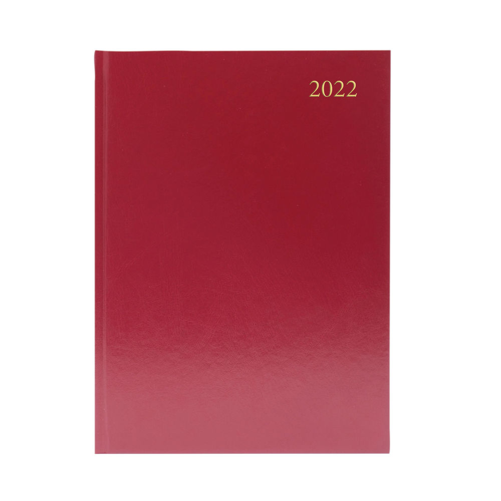 Burgundy A5 Week To View 2022 Desk Diary