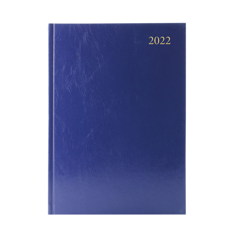 Blue A4 Week To View 2022 Desk Diary