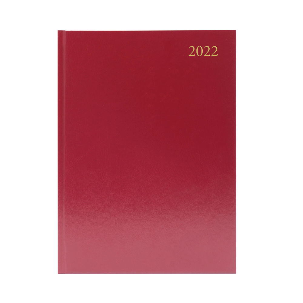 Burgundy A4 Day Per Page 2022 Desk Diary