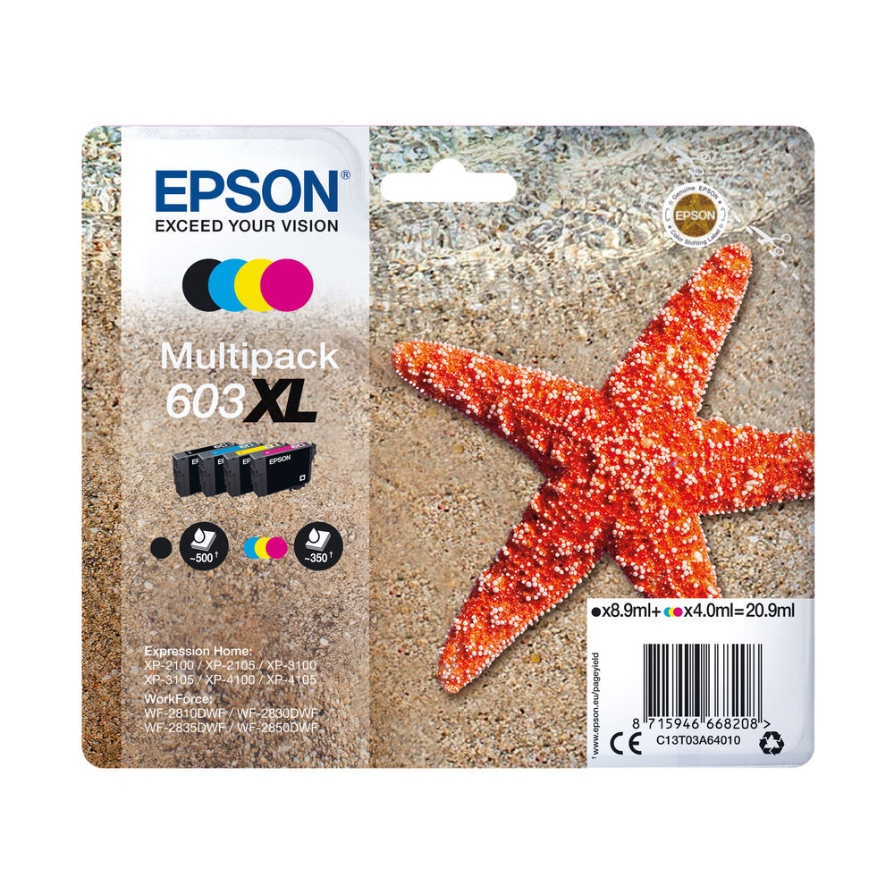 Epson Starfish 603XL CMYK Ink Multipack C13T03A64010