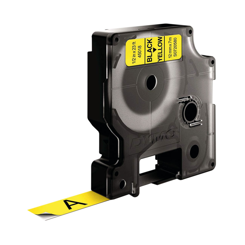 Dymo 45018 D1 LabelMaker Tape 12mm x 7m Black on Yellow S0720580