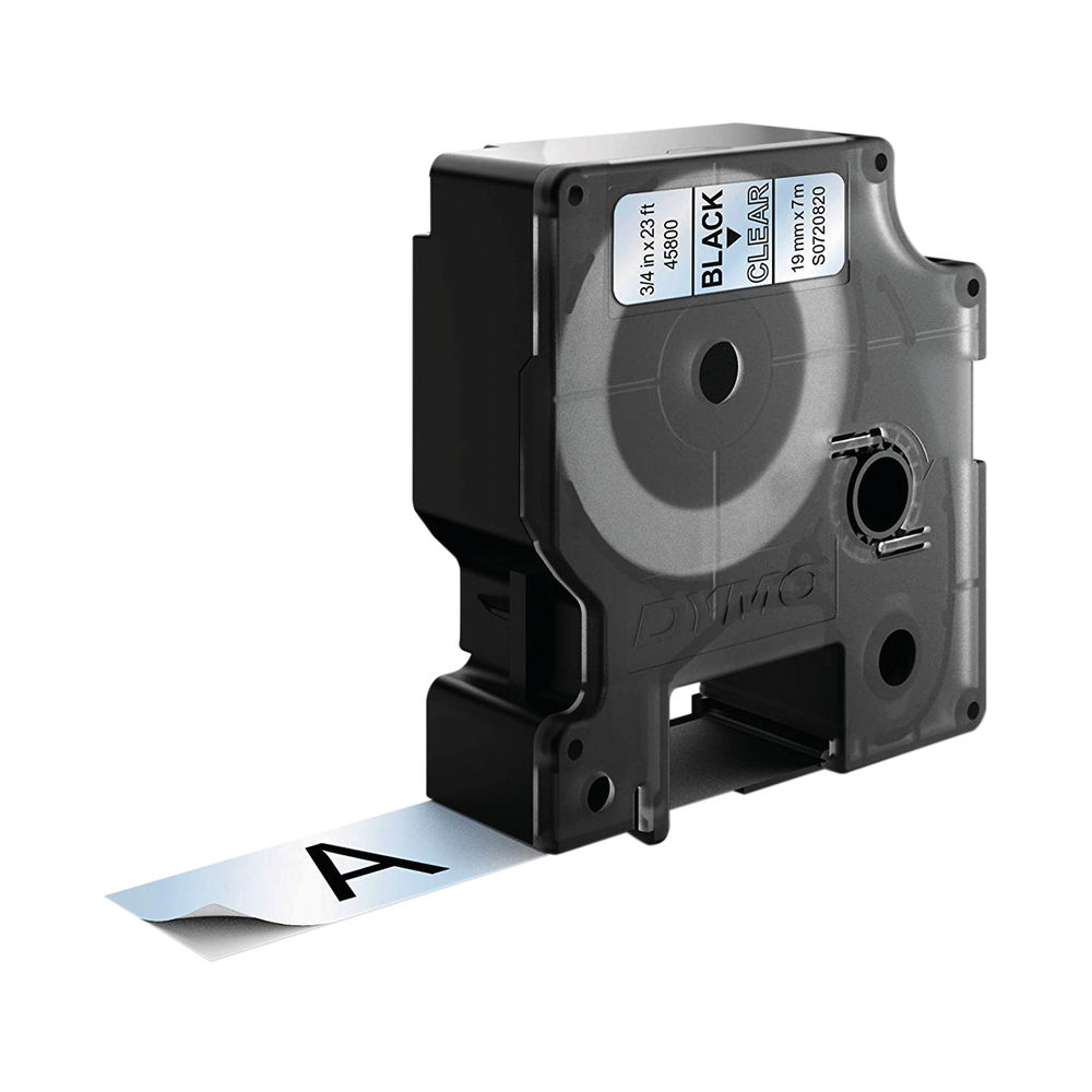 Dymo 45800 D1 LabelMaker Tape 19mm x 7m Black on Clear S0720820