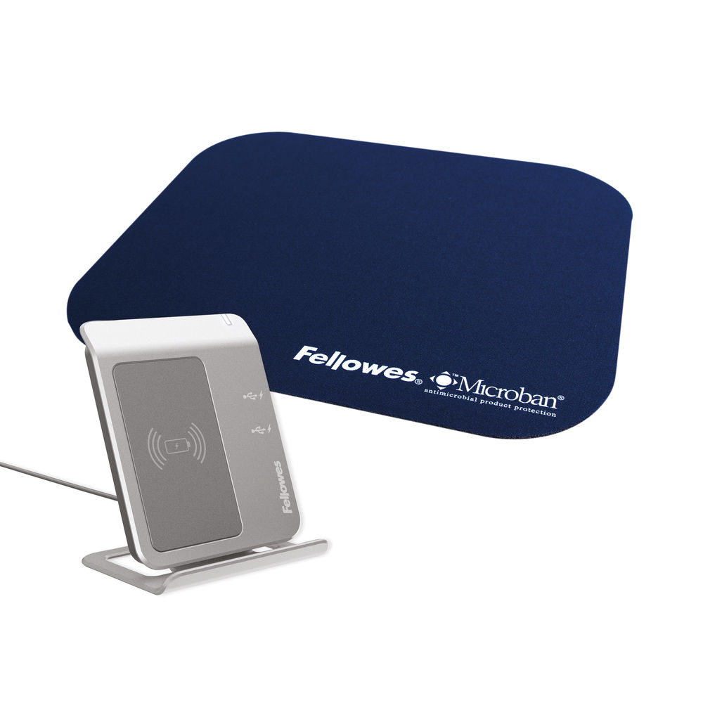 Fellowes Mouse Pad Microban Antibacterial Protection Navy 5933805