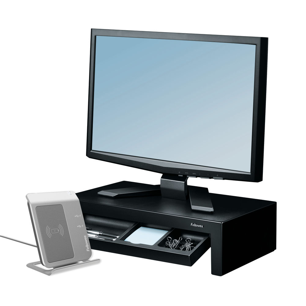 Fellowes Black Designer Suites Monitor Riser - 8038101