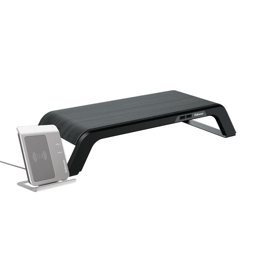 Fellowes Hana Monitor Support 230V USB EU UK Metal Base Black 8060501