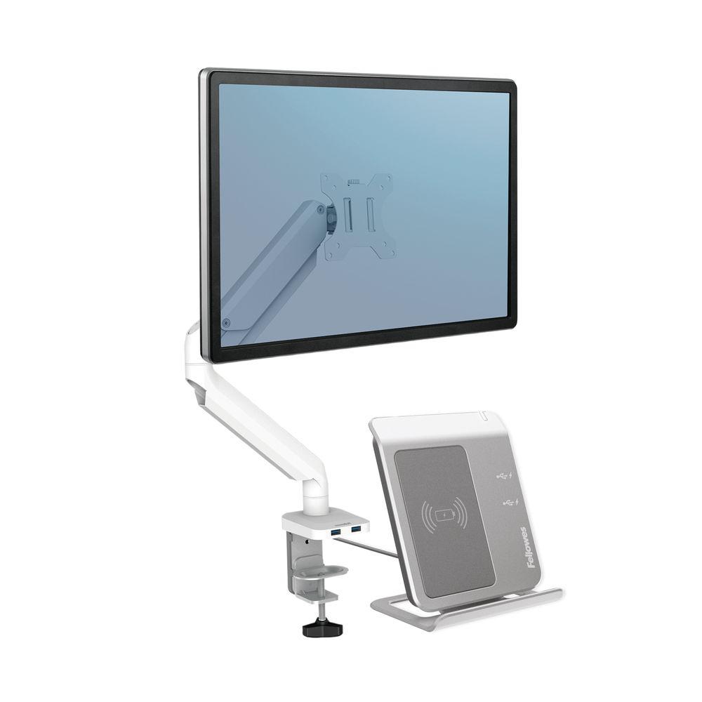 Fellowes Platinum Series Single Monitor Arm White 8056201
