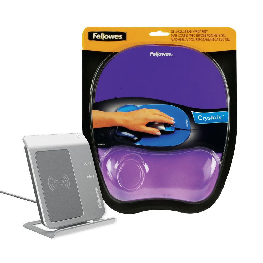 Fellowes Crystal Gel Purple Mouse Mat - 91441