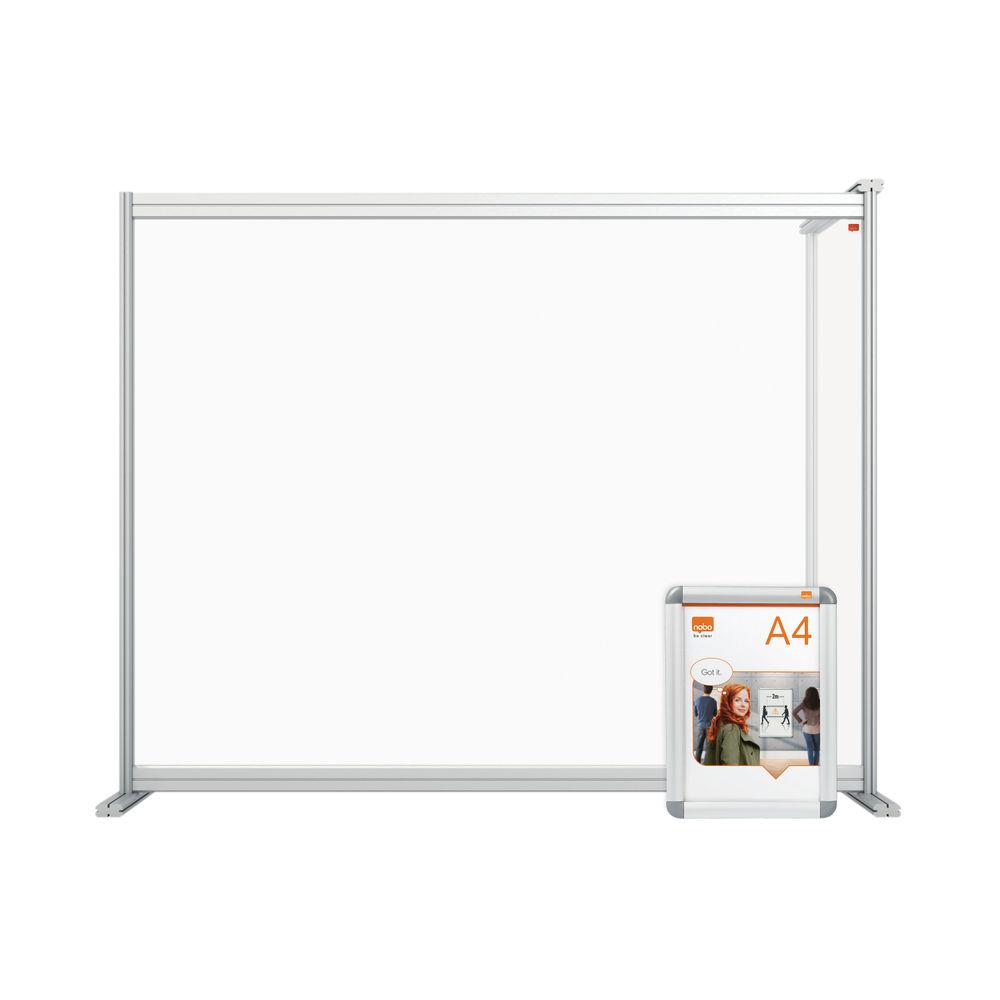 Nobo 1200mm Clear Acrylic Modular Desk Divider Extension
