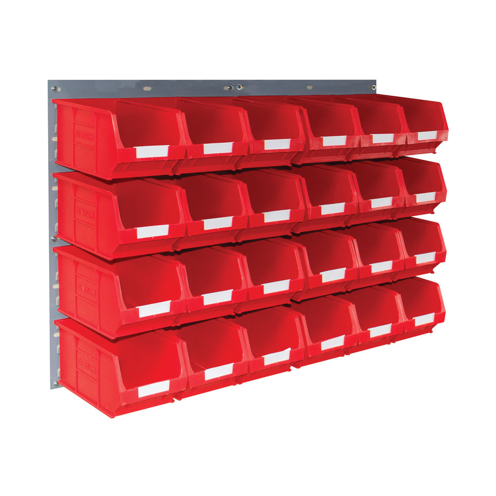 Barton Wall Mounted Bin Kit 2 Panels 24 Red Containers 010206R