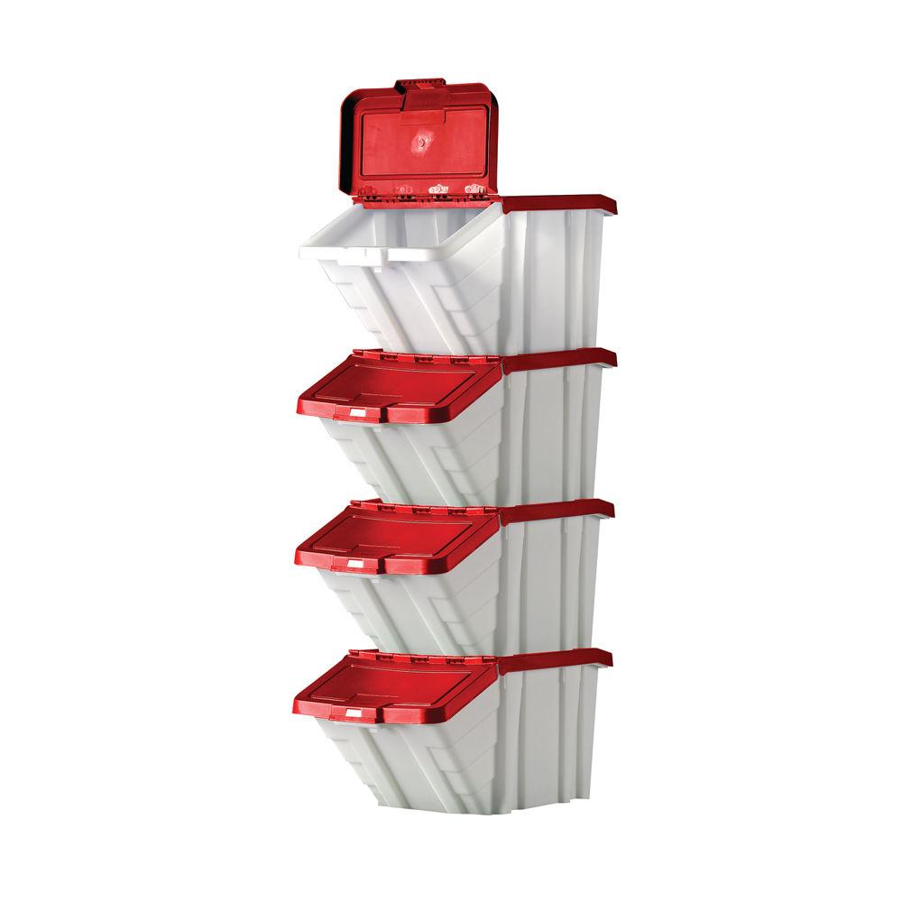 Barton Multifunctional Storage Bins Red Lids (Pack of 4) 052102/4