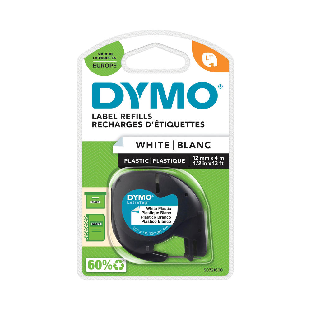 Dymo Letratag White 12mm x 4m Plastic Tape – S0721660