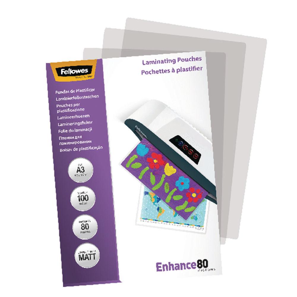 Fellowes Laminating Pouches A3 Matt 80 MIC (Pack of 100) - 5452003