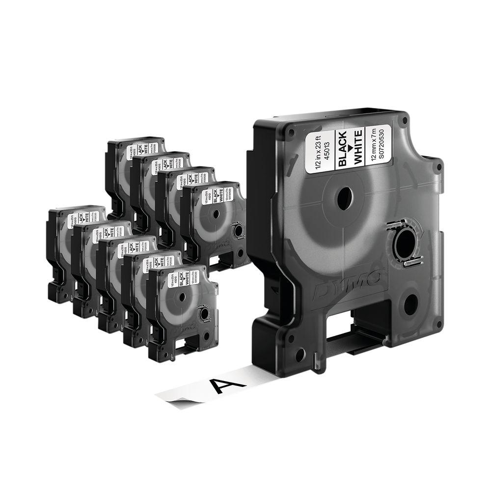 Dymo 12mm x 7mm Black on White D1 LabelMaker Tape (Pack of 10) - 2093097