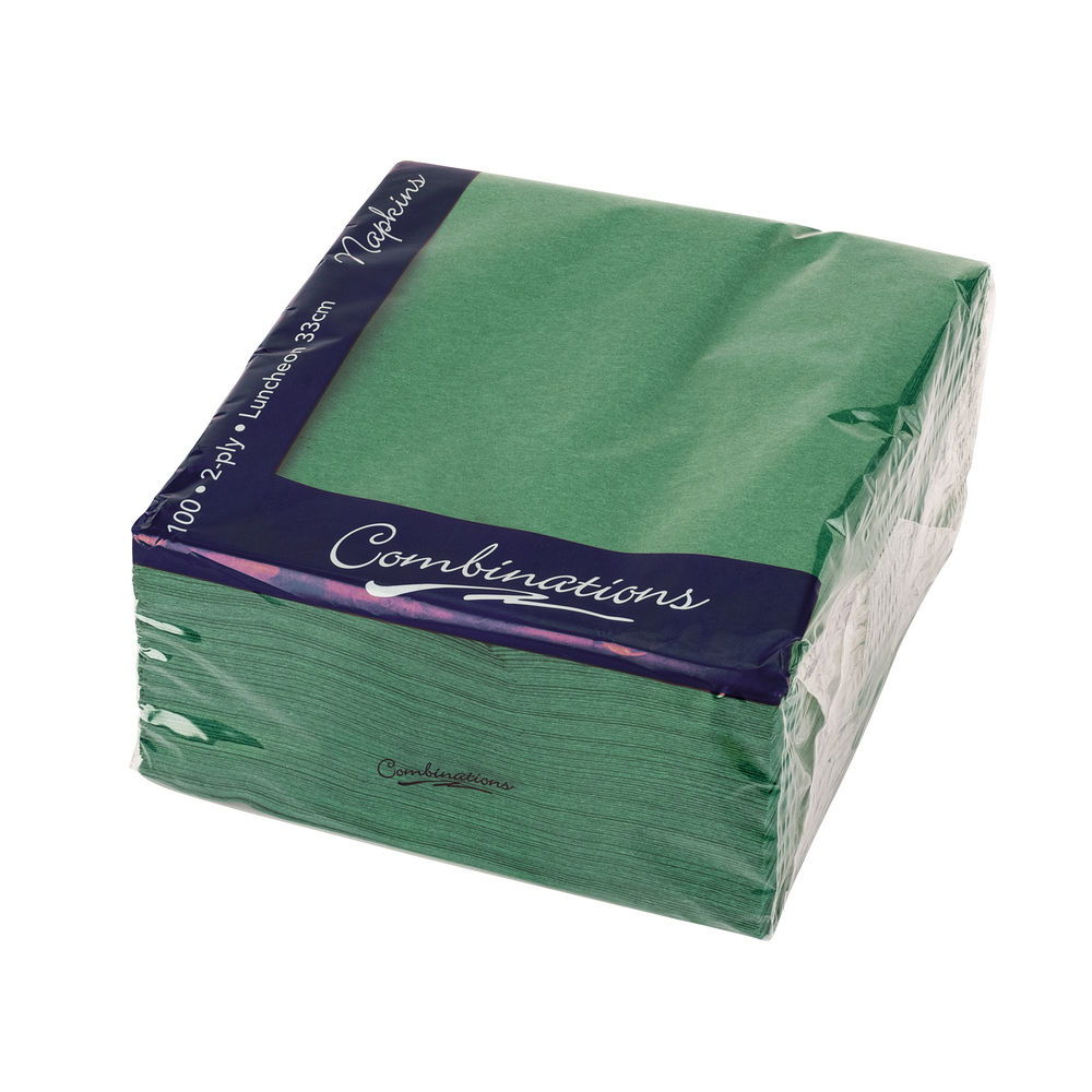 Combinations Forest Green 330 x 330mm Napkins (Pack of 100) - 3324FGCOM