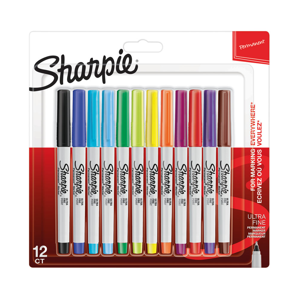 Sharpie Ultra Fine Assorted Permanent Markers, Pack of 12 - S0941891