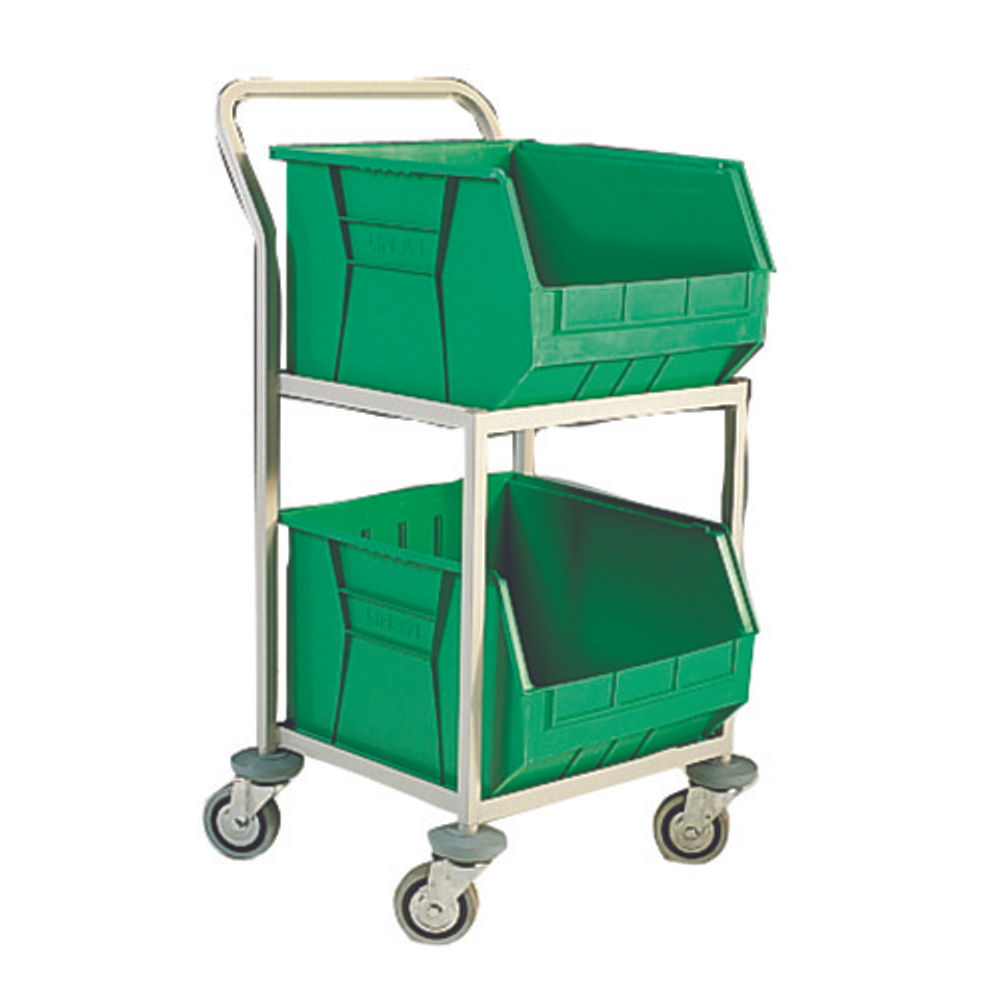 Green 2 Tiered Mobile Storage Trolley - 321291