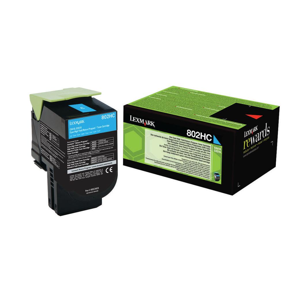 Lexmark 802HC Cyan High Yield Toner Cartridge 80C2HC0