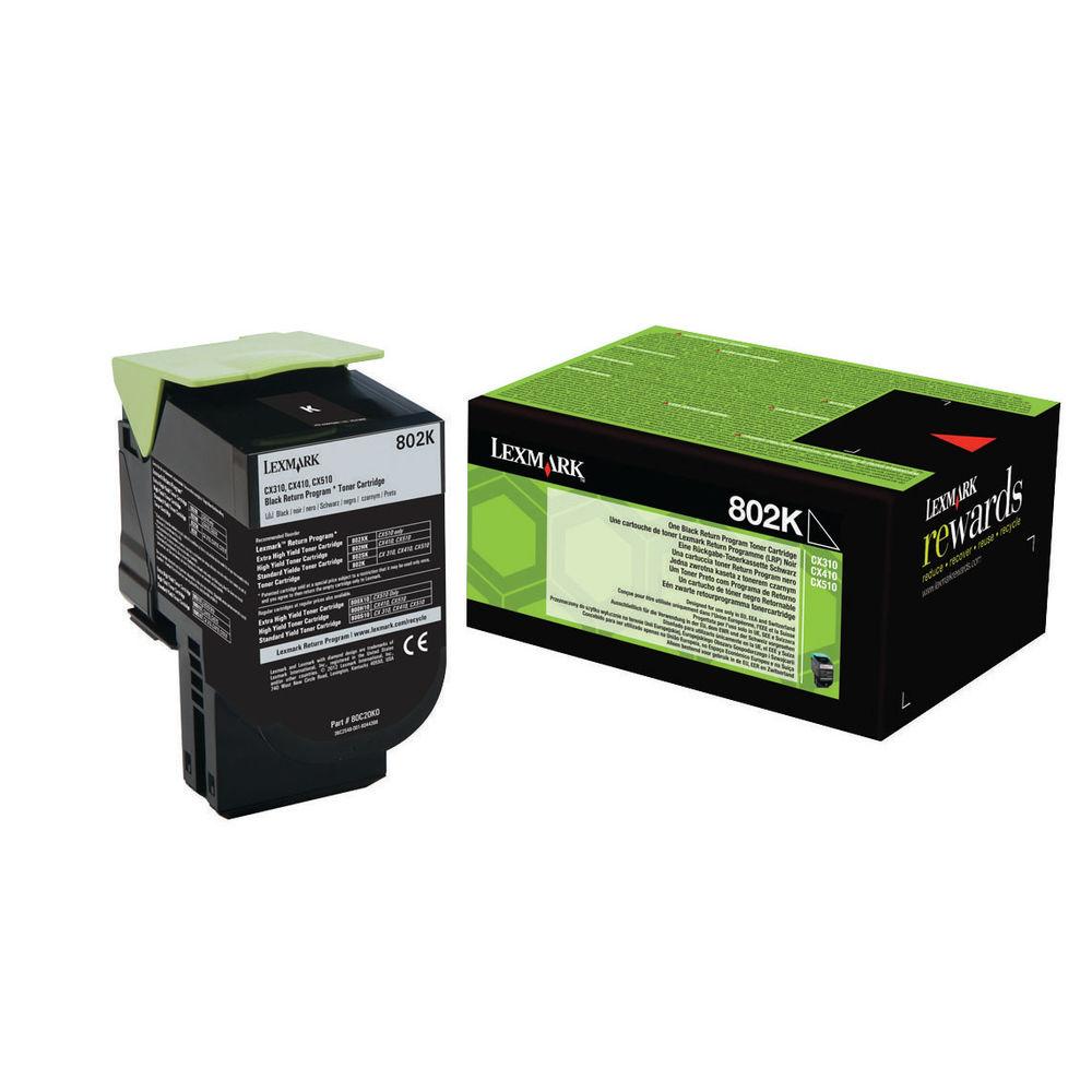 Lexmark 802K Black Toner Cartridge - 80C20K0