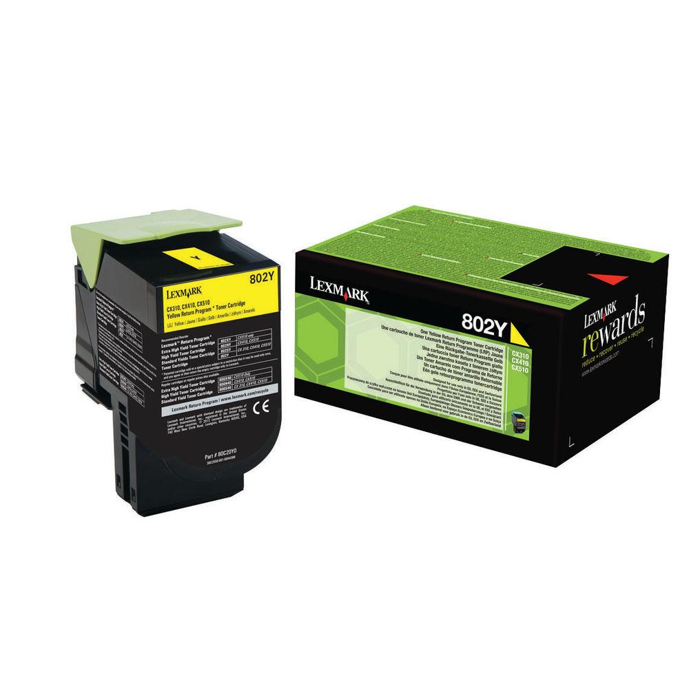 Lexmark 802Y Yellow Toner Cartridge - 80C20Y0