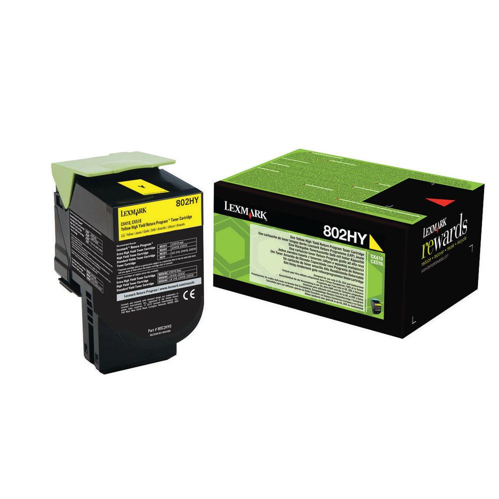 Lexmark 802HY Yellow High Yield Toner Cartridge 80C2HY0