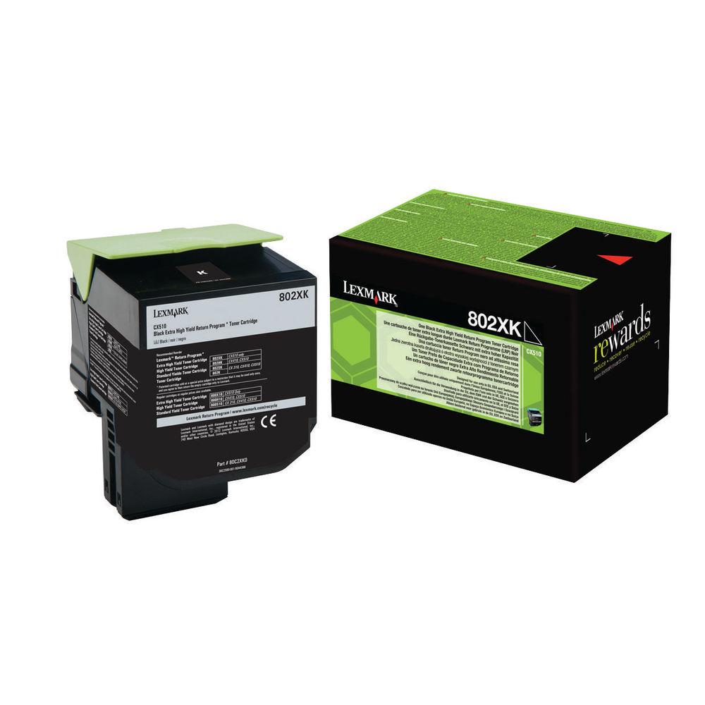 Lexmark 802XK Black Extra High Yield Toner Cartridge 80C2XK0