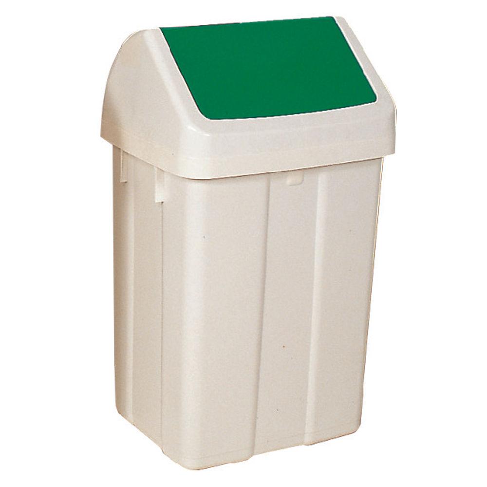 Plastic Swing Top Bin 50 Litre White With Green Lid 330351